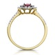 Ruby and Diamond Double Halo Ring in 18K Gold - Asteria Collection - image 3
