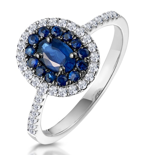 Sapphire and Diamond Double Halo Ring 18KW Gold - Asteria Collection - image 1