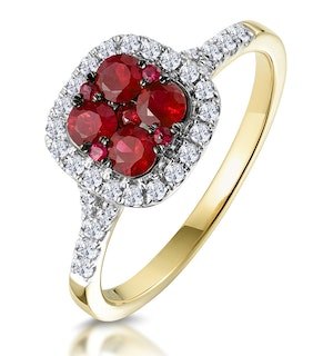 Ruby and Diamond Halo Square Ring in 18K Gold - Asteria Collection