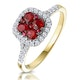 Ruby and Diamond Halo Square Ring in 18K Gold - Asteria Collection - image 1