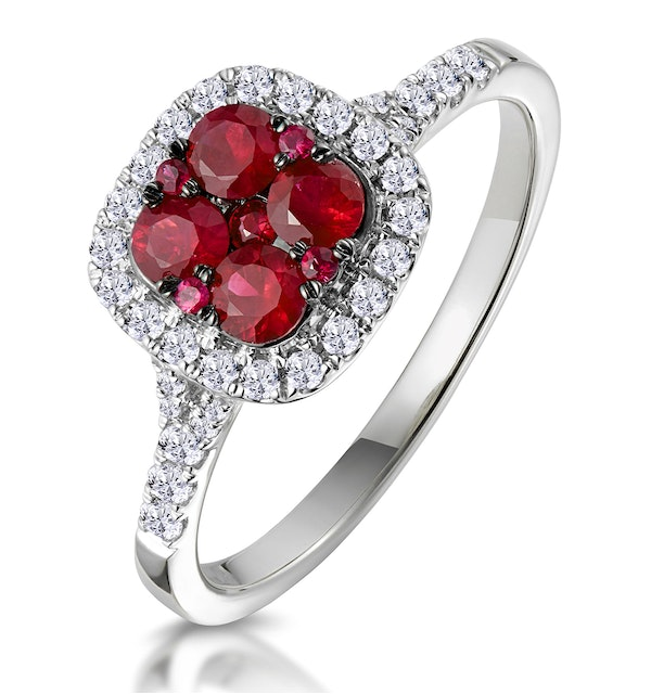 Ruby and Diamond Halo Square Ring 18K White Gold - Asteria Collection - image 1