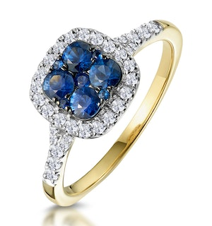 Sapphire and Diamond Halo Square Ring in 18K Gold - Asteria Collection
