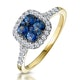 Sapphire and Diamond Halo Square Ring in 18K Gold - Asteria Collection - image 1