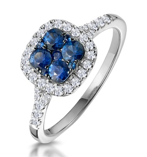 Sapphire and Lab Diamond Halo Square Ring 9KW Gold Asteria Collection