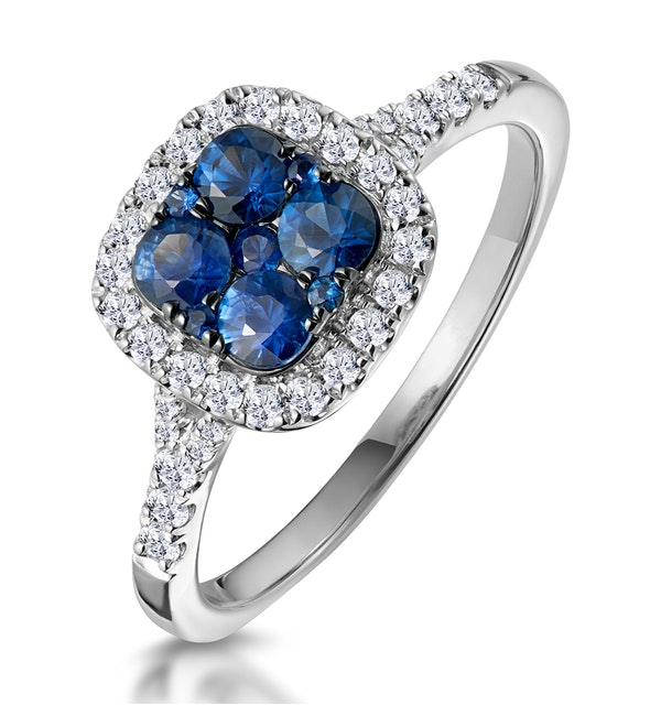 Sapphire and Lab Diamond Halo Square Ring 9KW Gold Asteria Collection - image 1