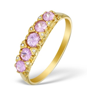 9K Gold Pink Sapphire 5 Stone Ring - FT951