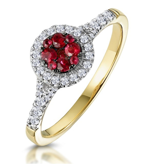 Ruby and Diamond Halo Circle Ring in 18K Gold - Asteria Collection - image 1