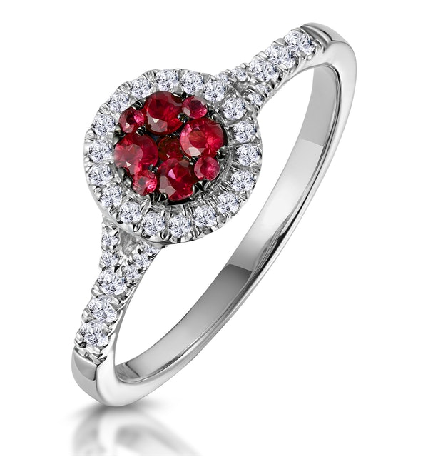 Ruby and Diamond Halo Circle Ring 18K White Gold - Asteria Collection - image 1