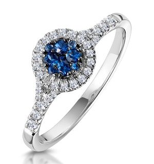 Sapphire and Lab Diamond Halo Circle Ring 9KW Gold - Asteria