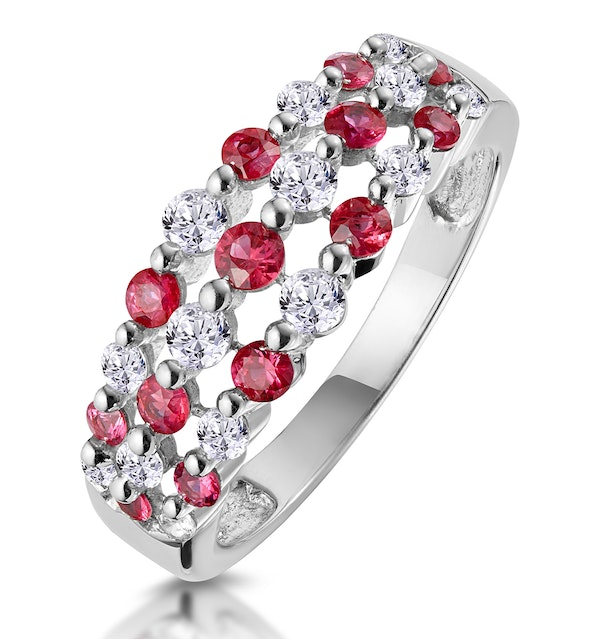 Ruby and Diamond 3 Row Ring in 18K White Gold - Asteria Collection - image 1