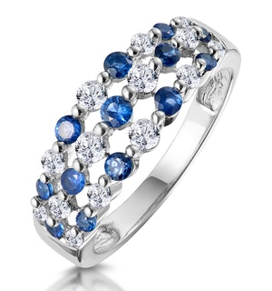 Sapphire and Lab Diamond 3 Row Ring in 9K White Gold - Asteria