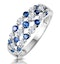 Sapphire and Diamond 3 Row Ring in 18K White Gold - Asteria Collection - image 1