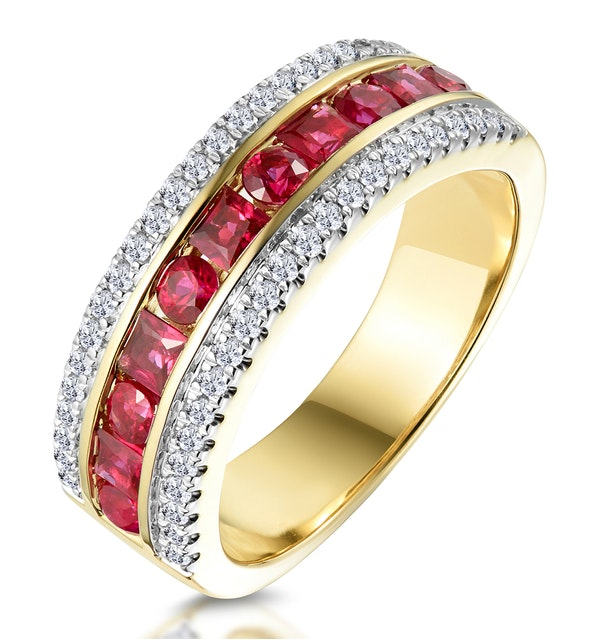 1ct Ruby and Diamond Eternity Ring in 18K Gold - Asteria Collection - image 1