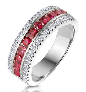 1ct Ruby and Diamond Eternity Ring 18K White Gold - Asteria Collection