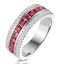 1ct Ruby and Diamond Eternity Ring 18K White Gold - Asteria Collection - image 1