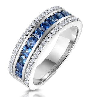 1ct Sapphire and Diamond Eternity Ring 18KW Gold - Asteria Collection