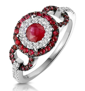 0.90ct Ruby and Diamond Cirlces Ring in 18KW Gold - Asteria Collection