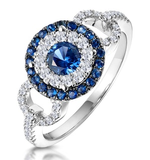 0.90ct Sapphire and Diamond Circles Ring 18KW Gold Asteria Collection