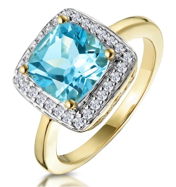 2ct Blue Topaz and Diamond Statement Ring 18K - Asteria Collection - image 1