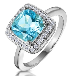 2ct Blue Topaz and Diamond Ring 18K White Gold - Asteria Collection