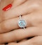 2ct Blue Topaz and Diamond Shoulders Asteria Ring in 18K White Gold - image 4