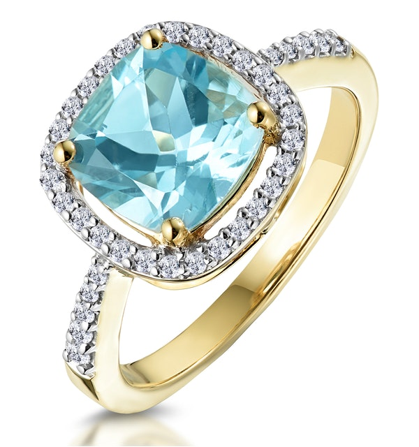 2ct Blue Topaz and Diamond Shoulders Asteria Ring in 18K Gold - image 1