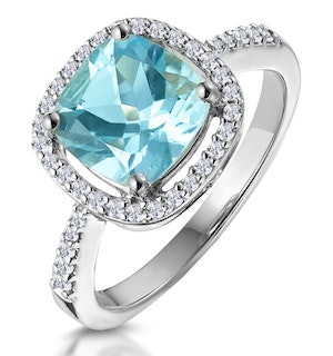 2ct Blue Topaz and Lab Diamond Shoulders Asteria Ring in 9K White Gold