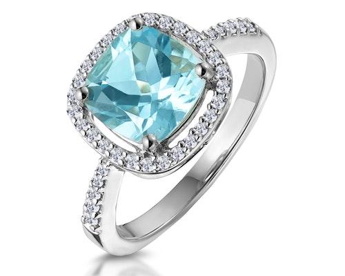 Blue Topaz Halo Rings