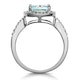 2ct Blue Topaz and Diamond Shoulders Asteria Ring in 18K White Gold - image 3