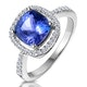 2ct Tanzanite and Diamond Shoulders Asteria Ring in 18K White Gold - image 1