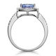 2ct Tanzanite and Diamond Shoulders Asteria Ring in 18K White Gold - image 3