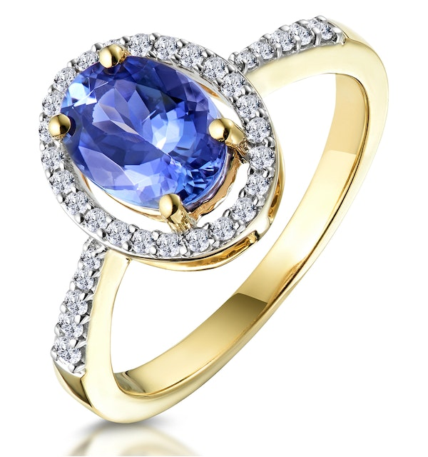 Tanzanite and Diamond Oval Halo Ring in 18K Gold - Asteria Collection - image 1