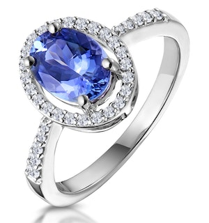 Tanzanite and Diamond Oval Halo Ring in 18KW Gold - Asteria Collection