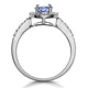 Tanzanite and Diamond Oval Halo Ring in 18KW Gold - Asteria Collection - image 3