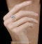 Tanzanite and Lab Diamond Oval Halo Ring in 9KW Gold - Asteria - image 2