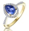 Tanzanite and Diamond Pear Halo Ring in 18K Gold - Asteria Collection - image 1