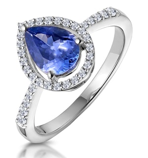 Tanzanite and Diamond Pear Halo Ring in 18KW Gold - Asteria Collection