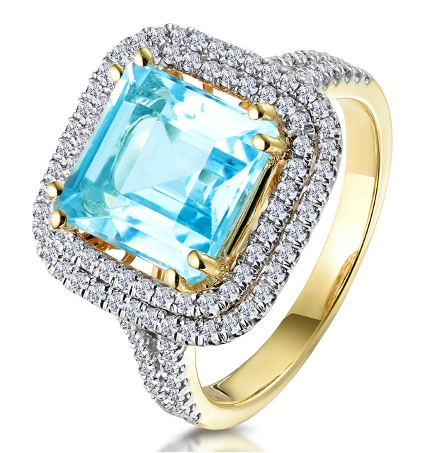 4.7ct Blue Topaz and Diamond Shoulders Asteria Ring in 18K Gold - image 1