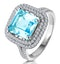 4.7ct Blue Topaz and Diamond Shoulders Asteria Ring in 18K White Gold - image 1