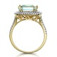 4.7ct Blue Topaz and Diamond Shoulders Asteria Ring in 18K Gold - image 3