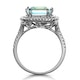 4.7ct Blue Topaz and Diamond Shoulders Asteria Ring in 18K White Gold - image 3