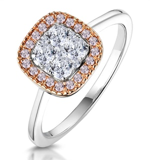Diamond and Pink Diamond Square Halo Ring 18KW - Asteria Collection