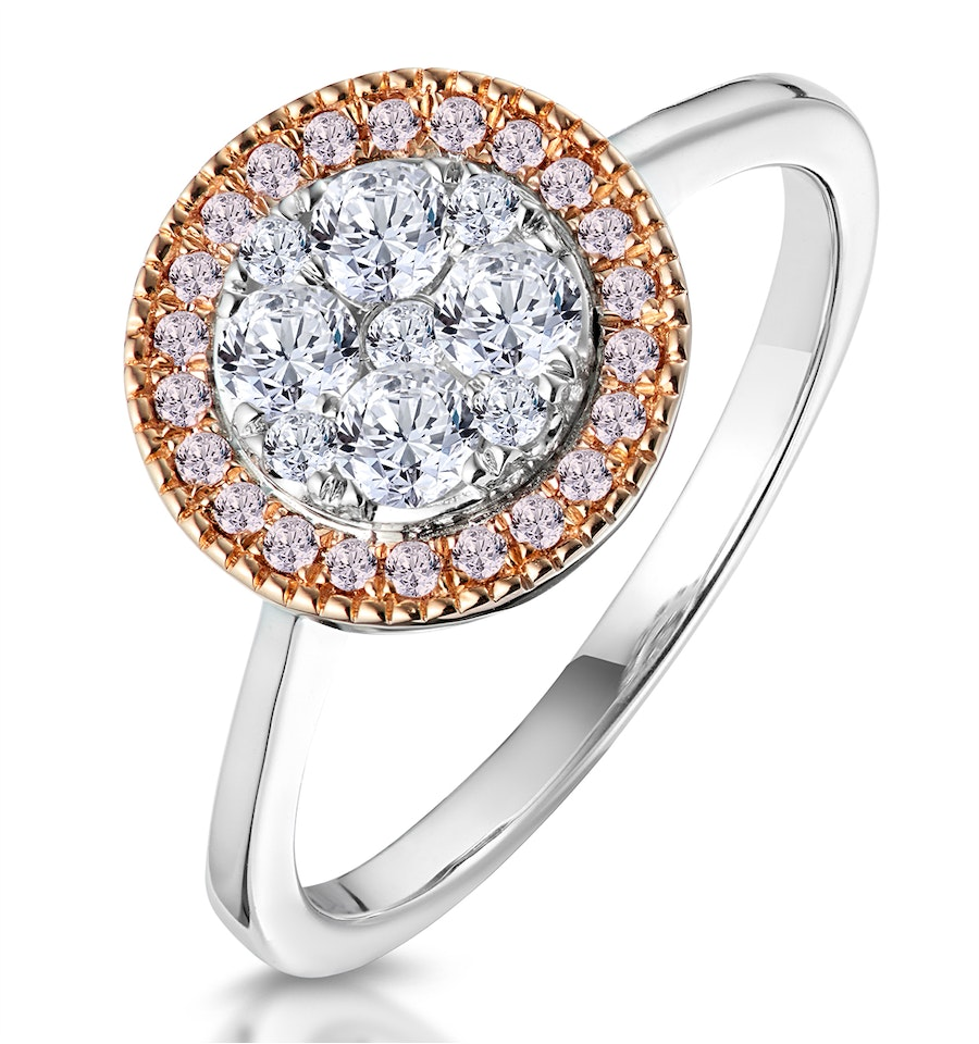 Diamond And Pink Diamond Circle Halo Ring In 18kw Asteria Collection Item Ft07 Rf