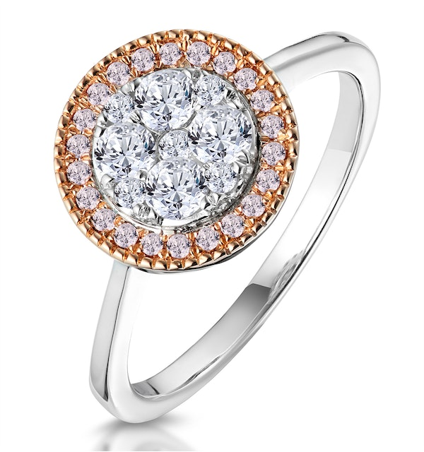 Diamond and Pink Diamond Circle Halo Ring in 18KW - Asteria Collection - image 1