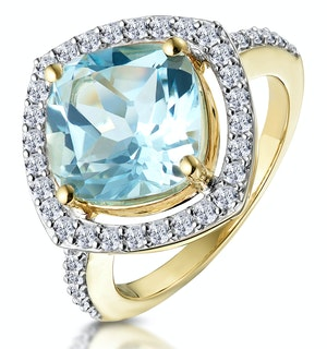 5.40ct Blue Topaz and Lab Diamond Asteria Statement Ring in 9K Gold