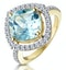 5.40ct Blue Topaz and Diamond Asteria Statement Ring in 18K Gold - image 1
