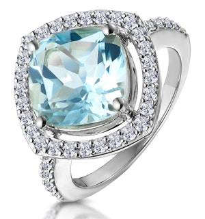 5.40ct Blue Topaz and Lab Diamond Statement Ring in 9K White Gold
