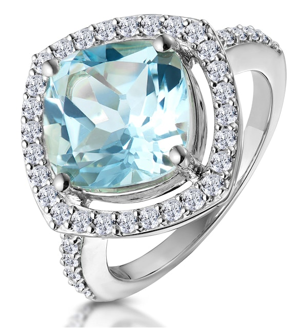 5.40ct Blue Topaz and Diamond Asteria Statement Ring in 18KW Gold - image 1