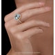 5.40ct Blue Topaz and Diamond Asteria Statement Ring in 18KW Gold - image 2