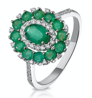 1.35ct Emerald Asteria Collection Diamond Halo Ring in 18K White Gold